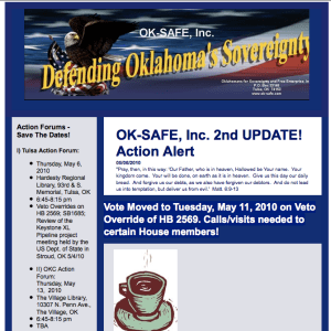 OK-Safe Action Alert:  Override Vote Needed May 11th on HB 2569 RFID