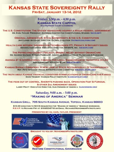Kansas State Sovereignty Rally – State Capitol, January 13-14, 2012