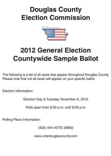 Douglas County, NE Official SAMPLE BALLOT for Nov. 6, 2012