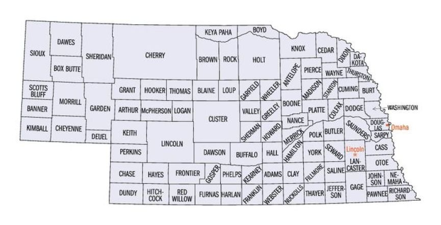 NE County Map