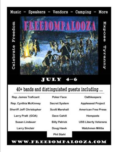 FreedomPalooza Music Festival 2013 with 40 + Bands including Poker Face