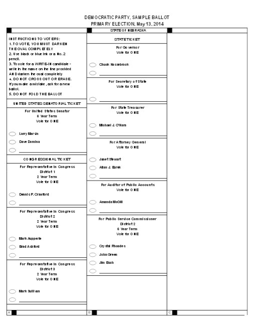 democratic sample ballot 2014