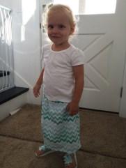 Matching Chevron Skirt, Flip Flops, and Hair Bow