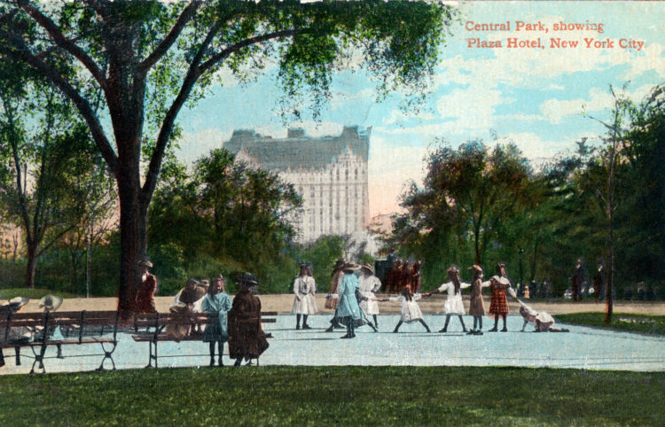 1912 Central Park, showing Plaza Hotel, New York City