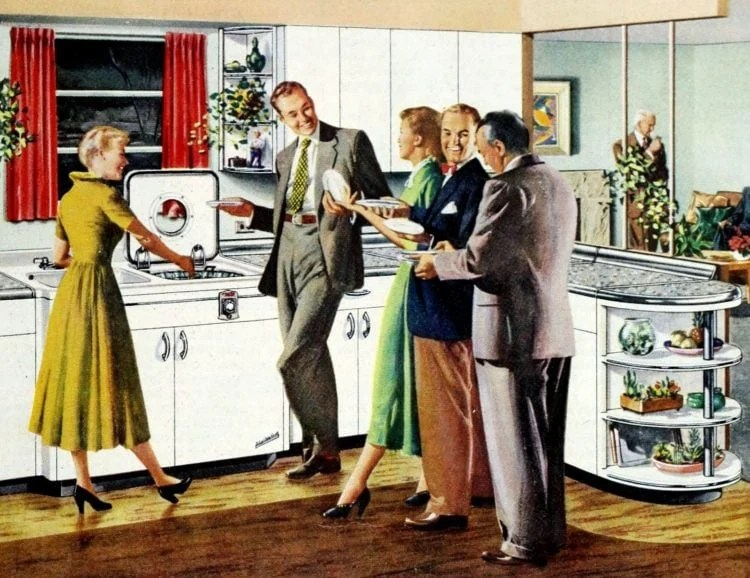 1951 kitchen home friends party - Top-loading dishwasher