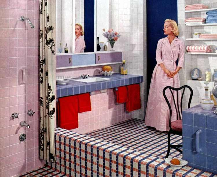 Vintage pink bathrooms: Pink tiles plus a pink, white and blue mosaic floor