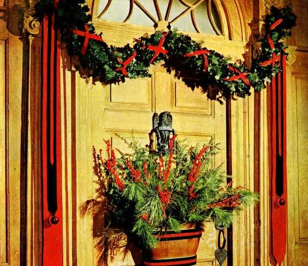 decorating your front door for christmas 1960 click americana - How To Decorate Your Door For Christmas