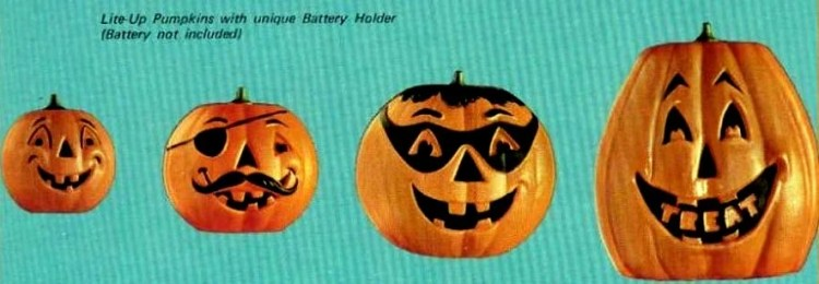 1971 Plastic halloween pumpkin lamps jack o lanterns for a Meet 'n Treat Halloween party