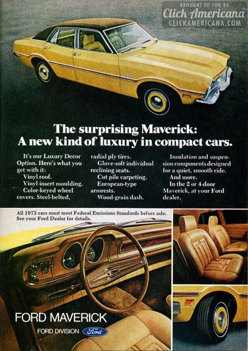 1973 Ford Maverick A New Kind Of Luxury In Compact Cars