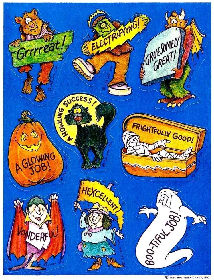 1984-Hallmark-Halloween-stickers - signs and slogans