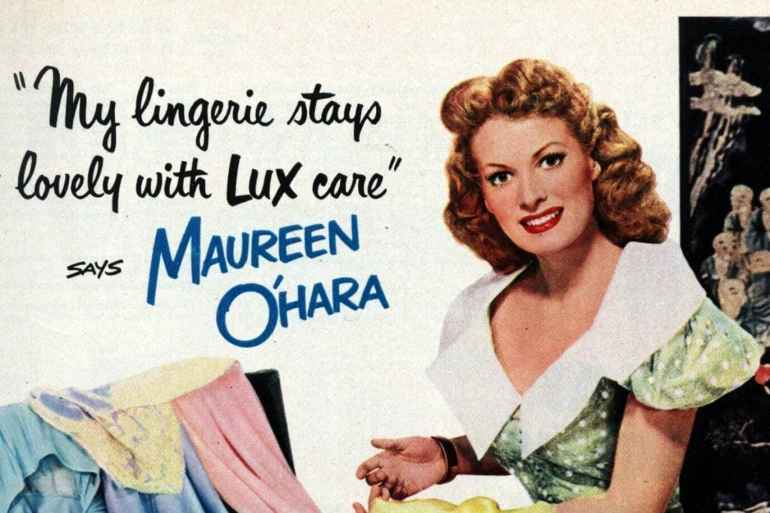 Actress Maureen O'Hara washes her lingerie in Lux soap flakes (1950)