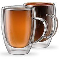Stone & Mill 2 Glass Coffee Cups 12 oz, Insulated Double Wall Coffee Mugs AM-12