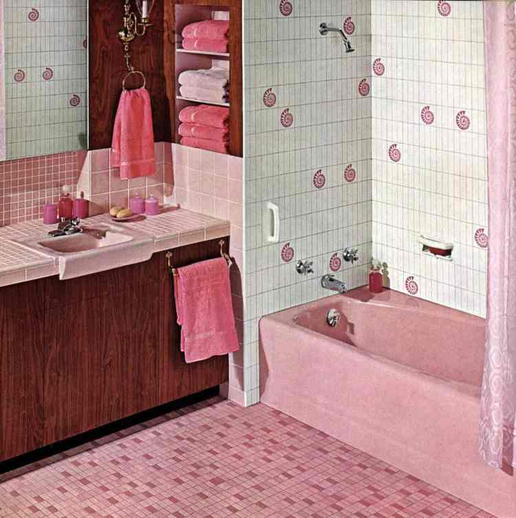 American Olean pink tile bathroom 1962