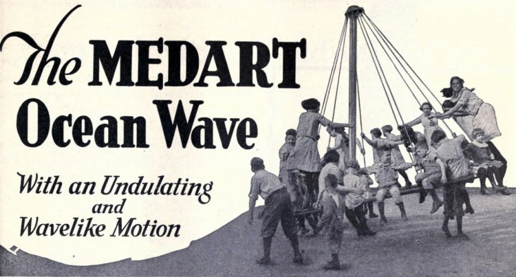 Antique playground equipment from the 1920s - Medart ocean wave ride