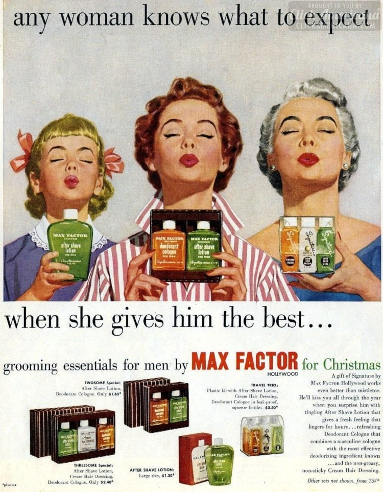 Any woman knows what to expect - Christmas presents bad vintage ad from 1953
