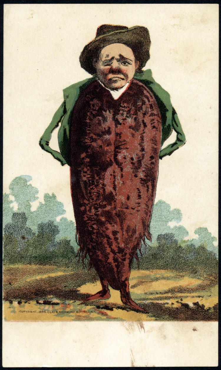 Trade cards with people as vegetables from the 1800s - Man's head on a sweet potato body