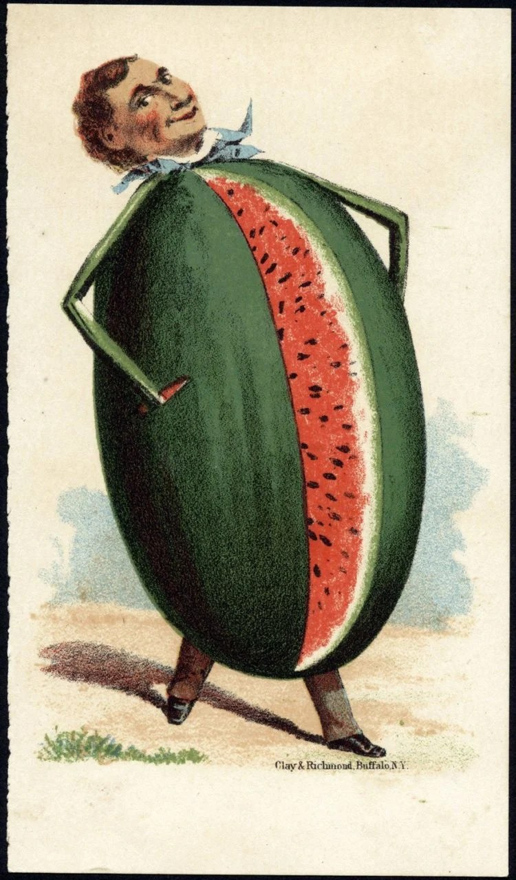 Art cards from the 1800s - Man's head on a watermelon