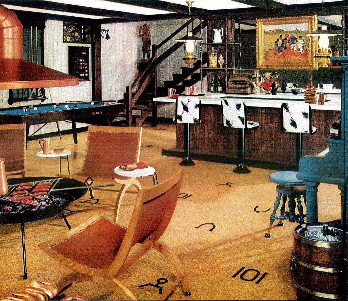 Vintage Basement Decor From The 40s 50s See 25 Creative