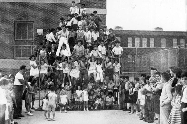 Bronx Playground with tons of kids in 1940s