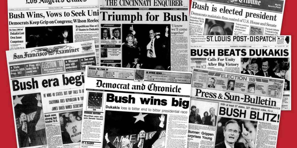 Bush elected President Headlines from George H W Bush's presidential election win in 1988