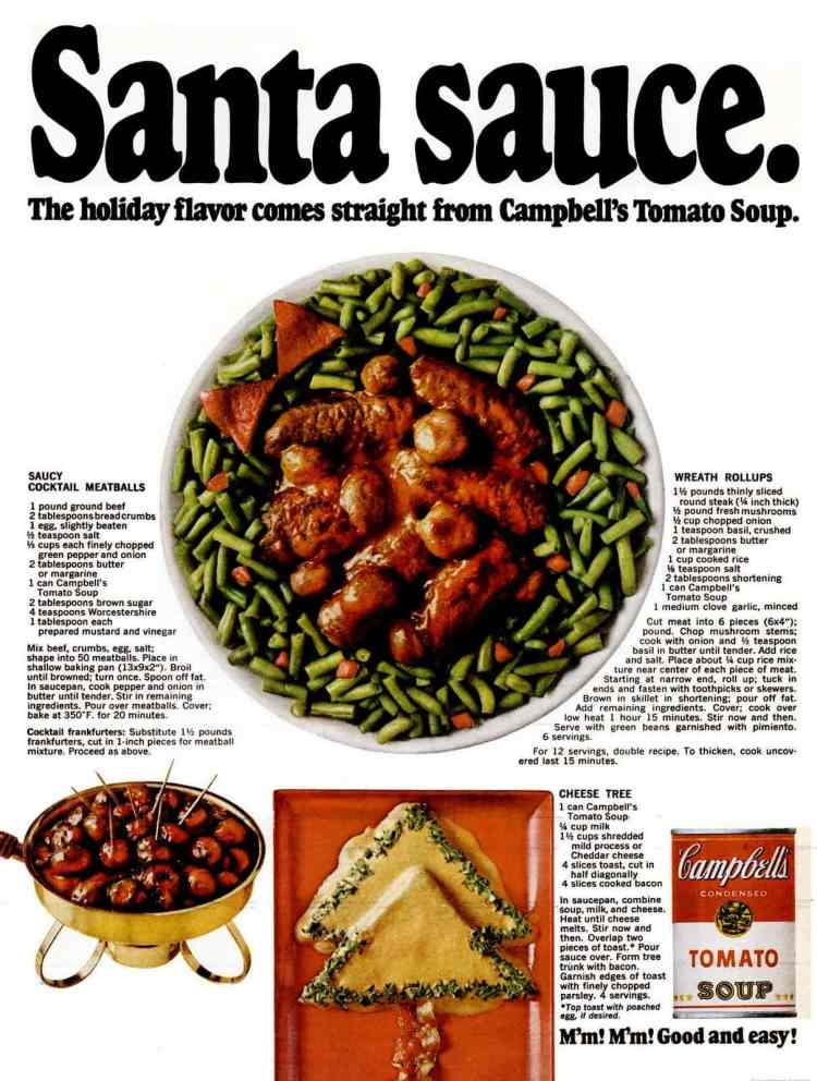 Holiday appetizer recipes from the '60s: Saucy cocktail meatballs, Cheese trees & Wreath rollups