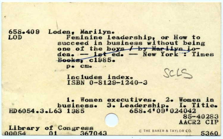 Card catalog card from 1985 from the Suffolk Cooperative Library System, New York