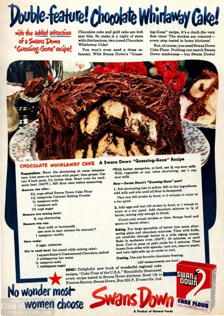 Chocolate Whirlaway cake recipe - food from Feb 1950