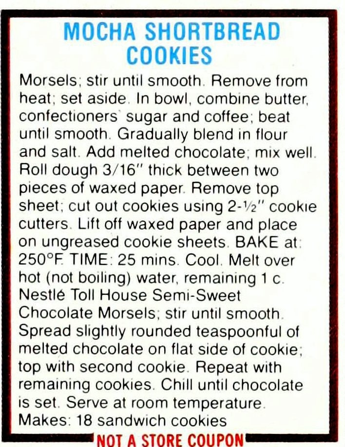 Chocolate cookie recipes from 1985 - Mocha shortbread cookies