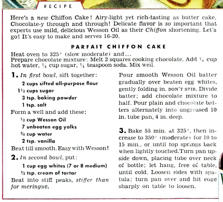 Chocolate vanilla parfait chiffon cake - Vintage recipe card from the 40s