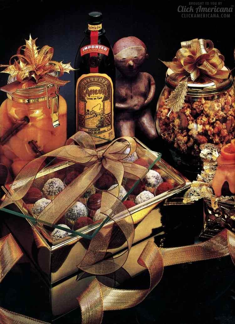 Chocolates, caramel popcorn, date-nut loaf vintage holiday recipes with Kahlua liqueur (1988)