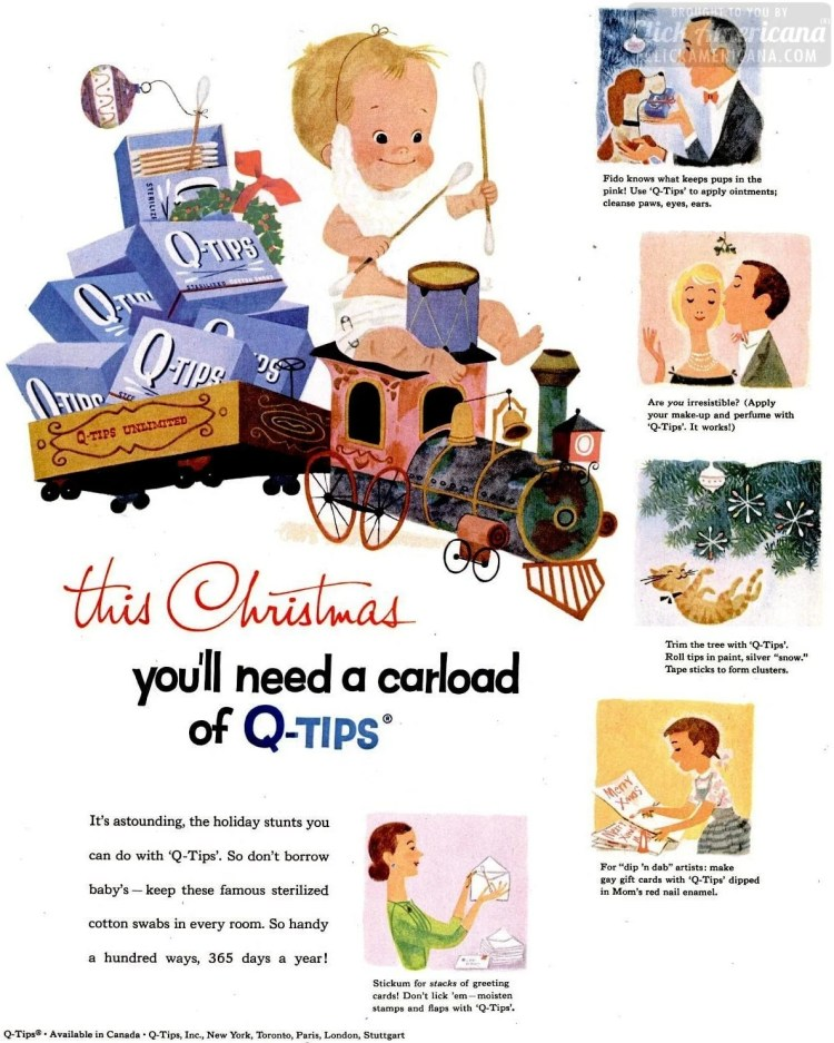 Christmas Q-Tips from December 1957