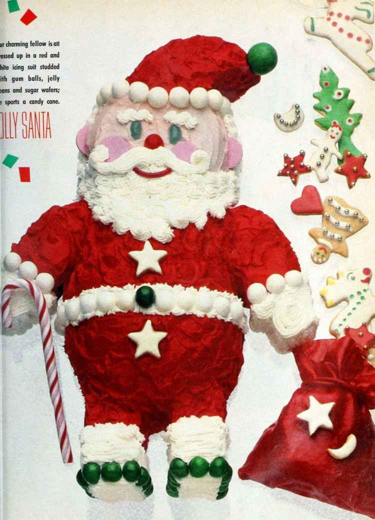 Cool and creative retro decorated Christmas cakes from the 1980s - Santa Claus