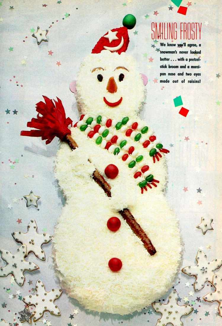 Cool and creative retro decorated Christmas cakes from the 1980s - Frosty the Snowman