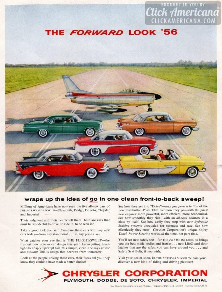 Chrysler cars for 1956 The forward look with Flight-Sweep