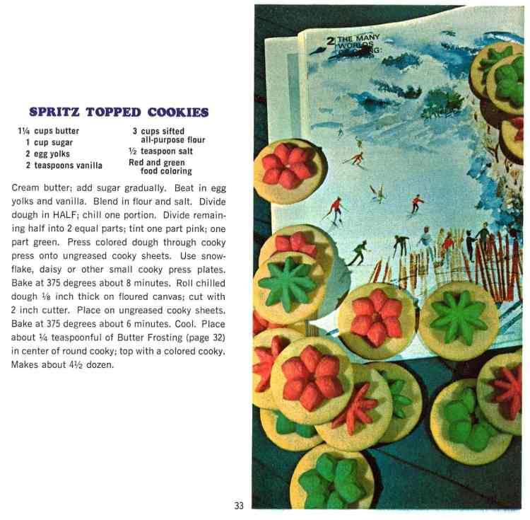 Colorful spritz-topped Christmas cookies - retro recipe