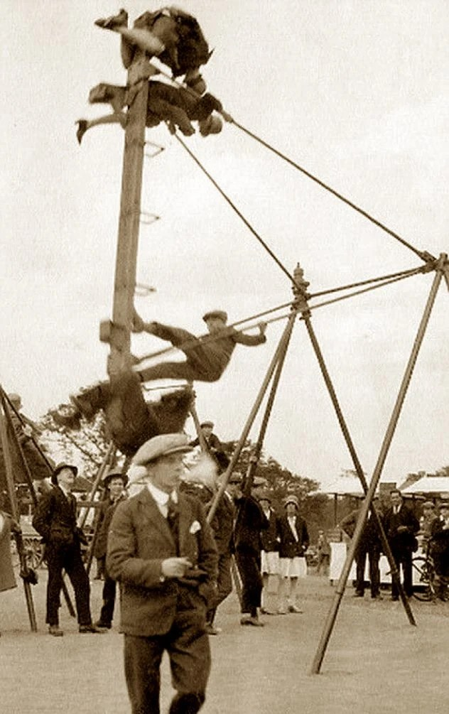 Dangerous playground - old-school boat swing going high