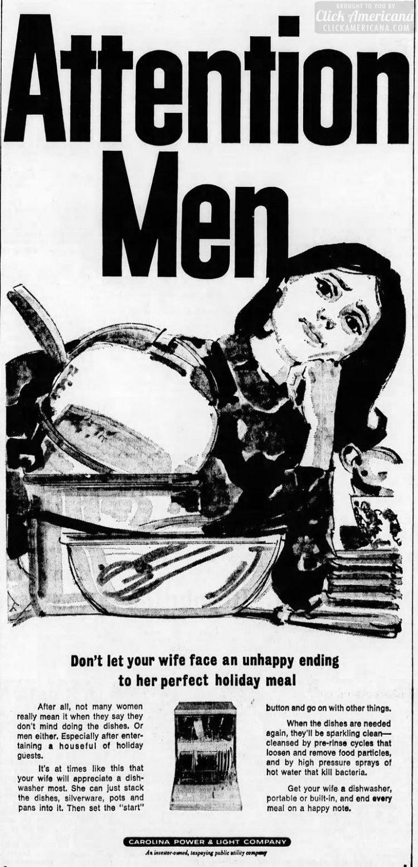 Dec 1966 - Attention men - Get her a dishwasher for Christmas