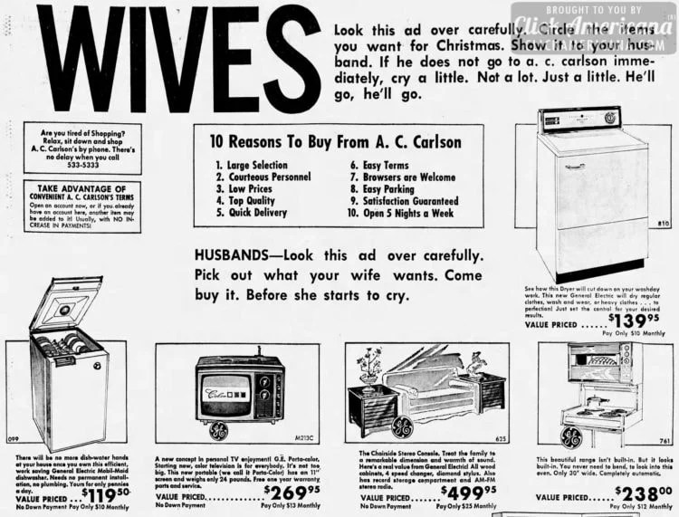 Dec 18 1966- What wives want for Christmas