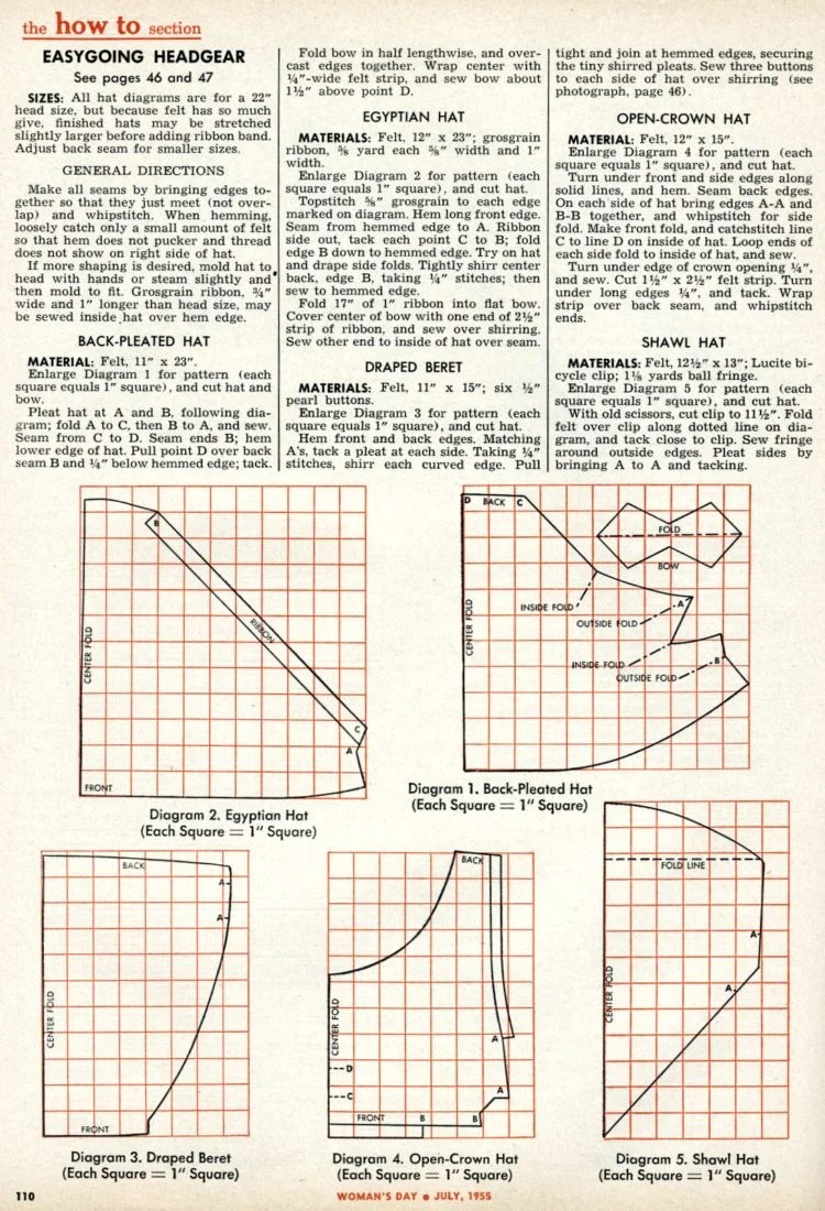 Diagrams - vintage hats you can make - Headwear styles from 1955 (3)