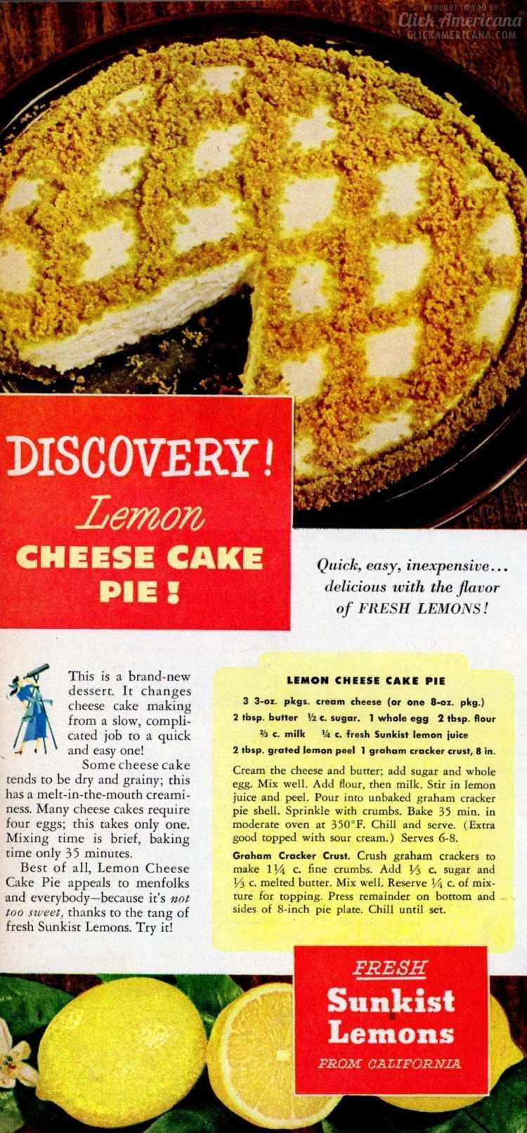 Easy lemon cheesecake pie A retro recipe from the 1950s