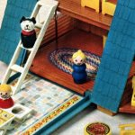 Fisher-Price A-frame features a chalet-type house with people, furniture, a car for hours of playhouse fun.