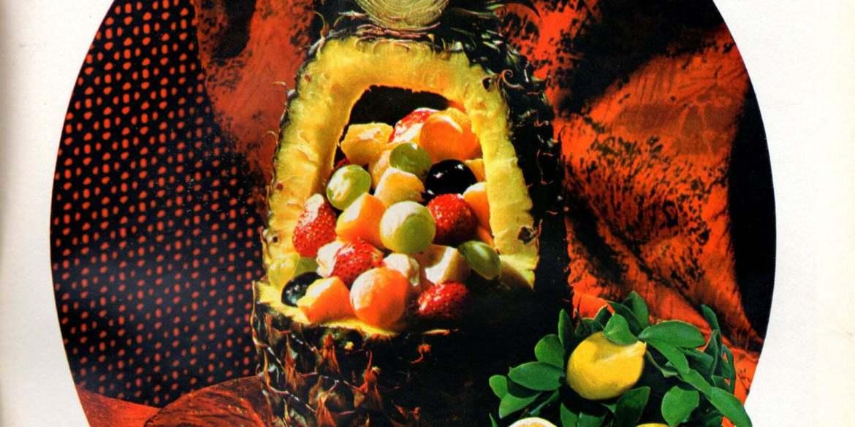 Fruits Royal Hawaiian A carved pineapple with fruit salad inside retro recipe