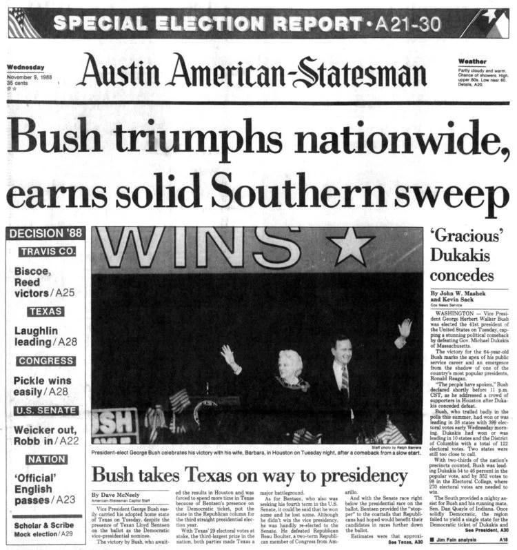 George H W Bush elected President - Newspaper headlines from Austin American Statesman Texas - November 9 1988