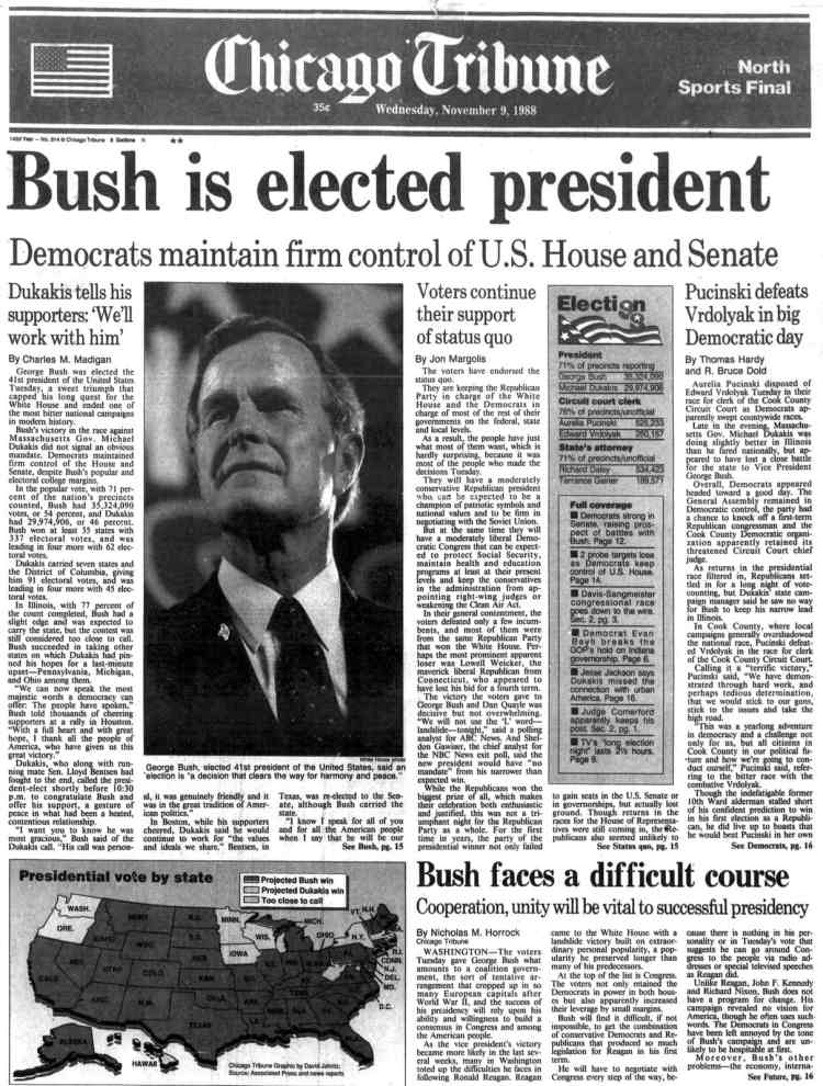 George H W Bush elected President - Newspaper headlines from Chicago Tribune - November 9 1988