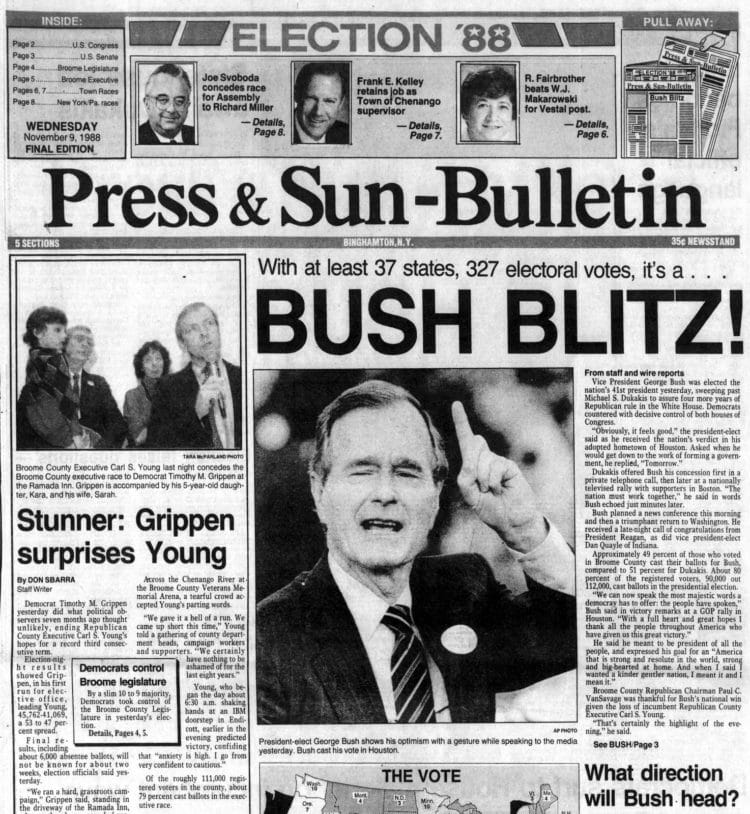 George H W Bush elected President - Newspaper headlines from Press and Sun Bulletin - November 9 1988