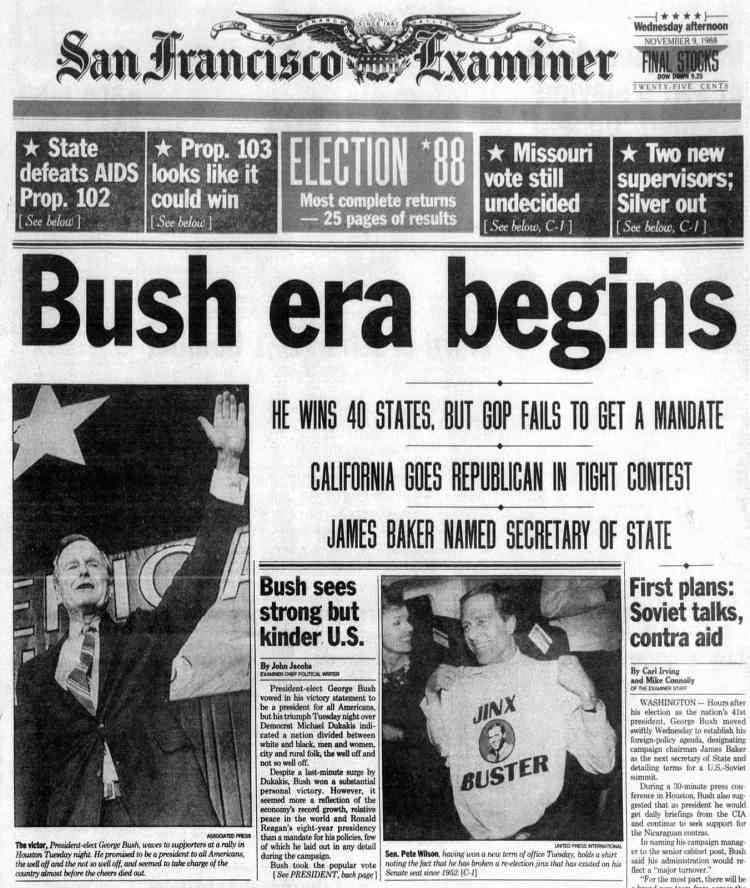 George H W Bush elected President - Newspaper headlines from The San Francisco Examiner Wed Nov 9 1988