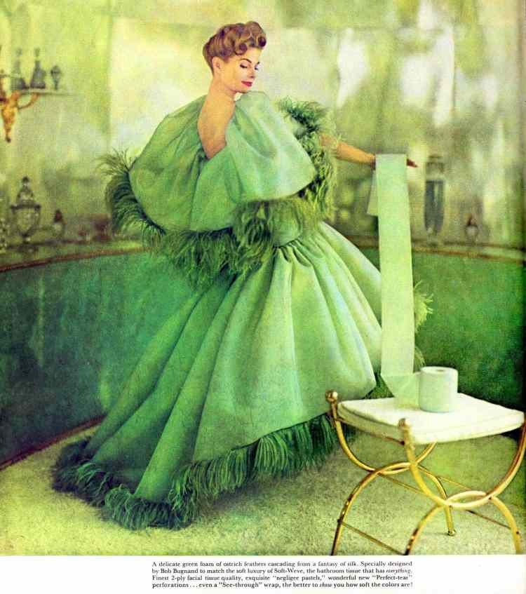 Green dress with ostrich feathers and a toilet roll from 1959