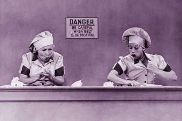 I Love Lucy - Chocolate factory candy conveyor belt episode with Lucille Ball