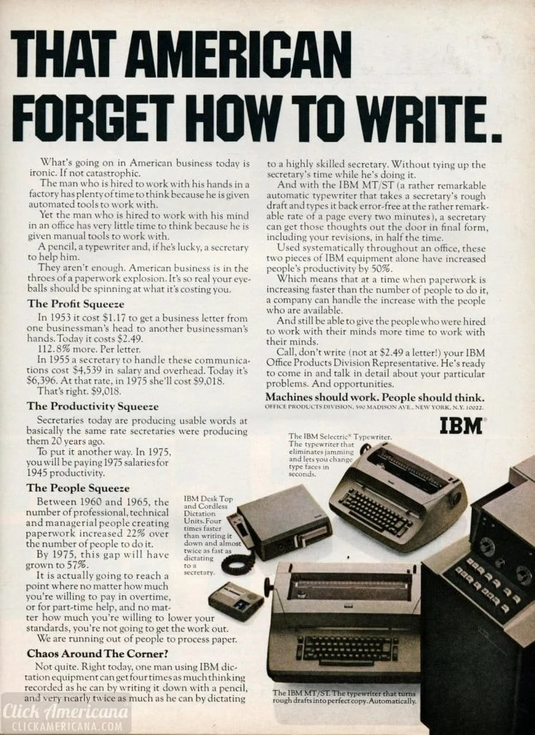 IBM MT/ST,desktop and cordless dictation units, Selectric typewriter 1967