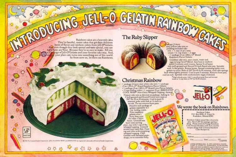 Jello rainbow poke cake - Vintage Christmas